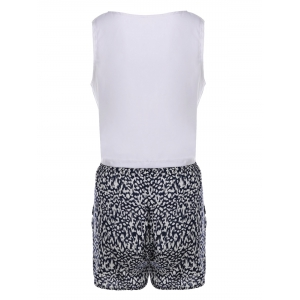Sexy Round Neck Sleeveless Tank Top + Elastic Waist Shorts Twinset For Women -