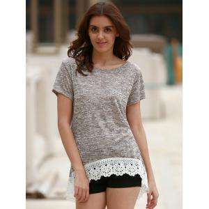 Stylish Round Neck Short Sleeve Hollow Out High Low T-Shirt For Women - LIGHT COFFEE M