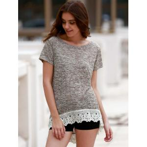 Stylish Round Neck Short Sleeve Hollow Out High Low T-Shirt For Women - LIGHT COFFEE S