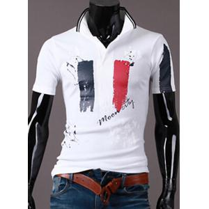 Turn-Down Collar Scrawl Pattern Print Short Sleeve Men's Polo T-Shirt