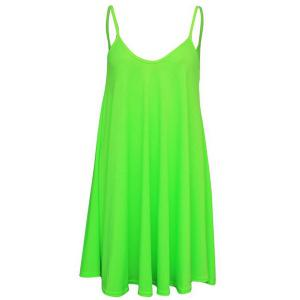 Short Slip Shift Dress - Neon Green - Xl