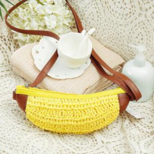 Cute Weaving and Banana Shape Design Crossbody Bag For Women - YELLOW