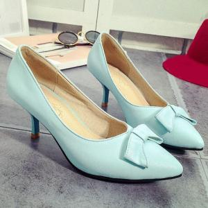 Ladylike Stiletto Heel and Bow Design Pumps For Women -