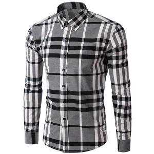 Men's Slimming Long Sleeves Plaid Turn Down Collar Shirt