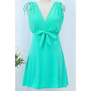 Trendy Plunging Neck Sleeveless Bowknot Design Solid Color Women's Swimwear -