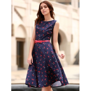 Cherry Print Midi A Line Dress With Belt - PURPLISH BLUE XL