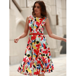 Vintage Jewel Neck Sleeveless Print Flare Dress For Women -