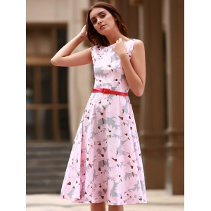 Vintage Jewel Neck Sleeveless Floral Print Flare Dress For Women -