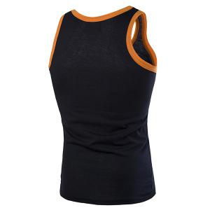 Round Neck Graphic and Eagle Embroidered Tank Top - BLACK L