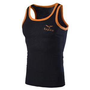 Round Neck Edging Design Letters and Eagle Embroidered Sleeveless Tank Top For Men - Black - L