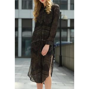 Chic Shirt Collar Long Sleeve Printed Asymemtrical Women's Dress -