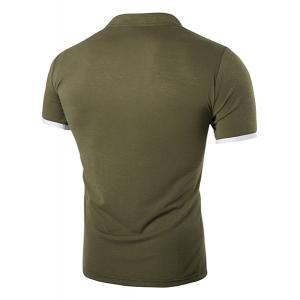 Stand Collar Color Block Splicing Short Sleeve Shirt For Men - ARMY GREEN M