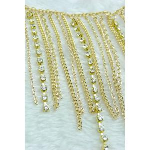 Stylish Rhinestoned Link Chain Anklet For Women - GOLDEN