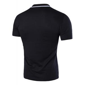 Turn-Down Collar Color Block Splicing Zipper Design Short Sleeve T-Shirt For Men -