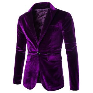 Fashion Lapel Pocket Edging Design Slimming Long Sleeve Corduroy Blazer For Men - Purple - L