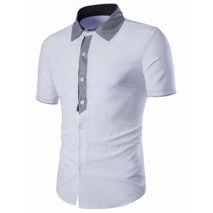 Turn-Down Collar Checked Spliced Short Sleeve Shirt For Men