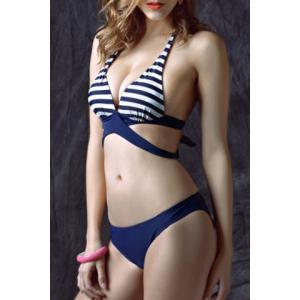 Striped Halter Neck Wrap Bikini Set -