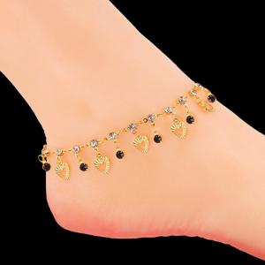 Rhinestone Heart Charm Anklet