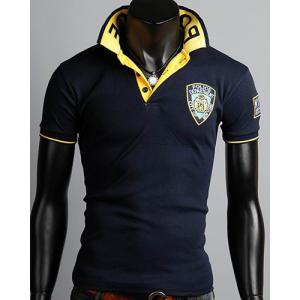 Turn-Down Collar Rib Splicing Letters Pattern Short Sleeve Men's Polo T-Shirt