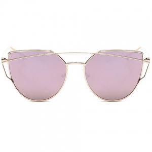 Metal Bar Embellished Cat Eye Sunglasses - PINK