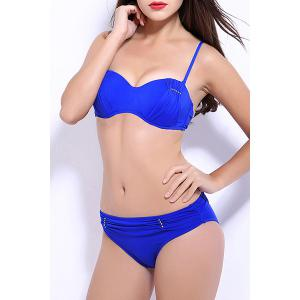 Women's Stylish Push Up Pure Color Bikini Suit -