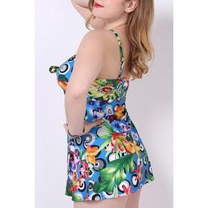 Stylish Spaghetti Strap Printed Plus Size One-Piece Swimsuit For Women -