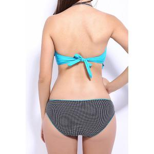 Sexy Halter Flounce Gingham Underwire Bikini Set For Women -
