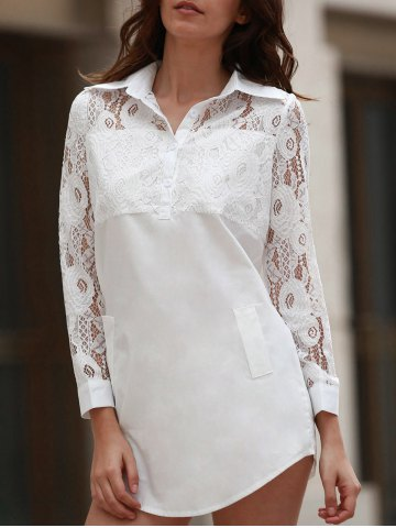 Fancy Long Sleeve Lace Long Shirt WHITE XL