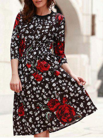 Buy Women's Stylish Jewel Neck 3/4 Sleeve Floral Print A-Line Dress