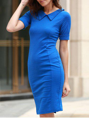 New Women's Stylish Solid Color Skinny Short Sleeve Peter Pan Collar Dress