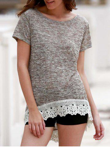 Shop Stylish Round Neck Short Sleeve Hollow Out High Low T-Shirt For Women LIGHT COFFEE M
