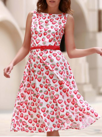 Latest Vintage Jewel Neck Sleeveless Strawberry Print Flare Dress For Women