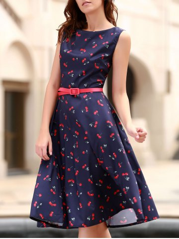 Outfits Cherry Print Midi A Line Dress With Belt PURPLISH BLUE XS