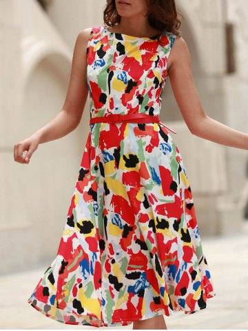 Cheap Vintage Jewel Neck Sleeveless Print Flare Dress For Women