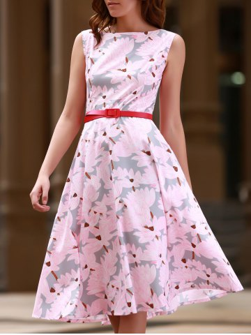 Latest Vintage Jewel Neck Sleeveless Floral Print Flare Dress For Women