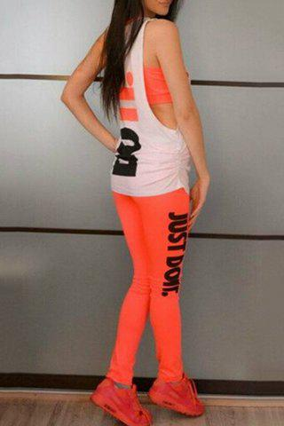 Round Neck Sleeveless Letter Print Activewear Suit 173247301