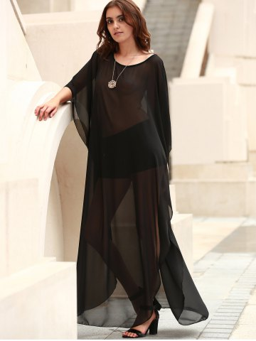Hot Scoop Neck See-Through Slit Long Swimsuits Cover-Ups - ONE SIZE(FIT SIZE XS TO M) BLACK Mobile