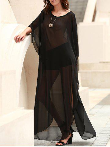 Buy Scoop Neck See-Through Slit Long Swimsuits Cover-Ups - ONE SIZE(FIT SIZE XS TO M) BLACK Mobile