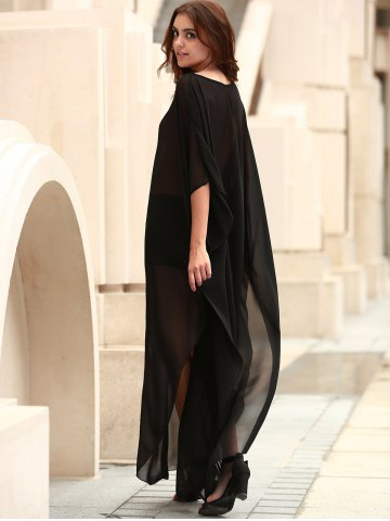 Shops Scoop Neck See-Through Slit Long Swimsuits Cover-Ups - ONE SIZE(FIT SIZE XS TO M) BLACK Mobile