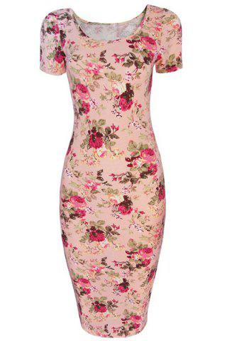 Hot Floral Scoop Neck Bodycon Dress
