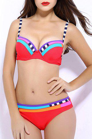 Trendy Spaghetti Strap Striped Bikini Set For Women