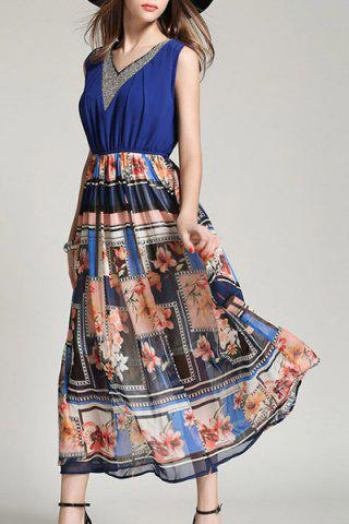 Shop Women's Stylish V-Neck Print Splicing Sleeveless Dress - L COLORMIX Mobile