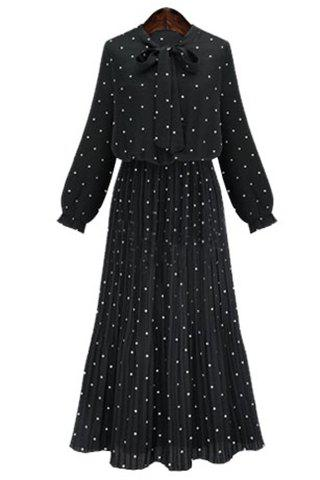 Shops Graceful Bow Tie Collar Long Sleeve Polka Dot Pleated Maxi Dress For Women