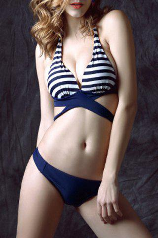 Latest Striped Halter Neck Wrap Bikini Set