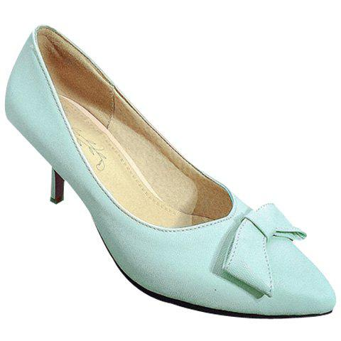 Sale Ladylike Stiletto Heel and Bow Design Pumps For Women LIGHT BLUE 38