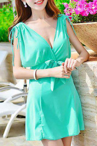 Sale Trendy Plunging Neck Sleeveless Bowknot Design Solid Color Women's Swimwear