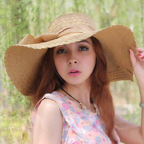 Best Fashionable Bowknot Embellished Wavy Edge Solid Color Straw Hat For Women -   Mobile