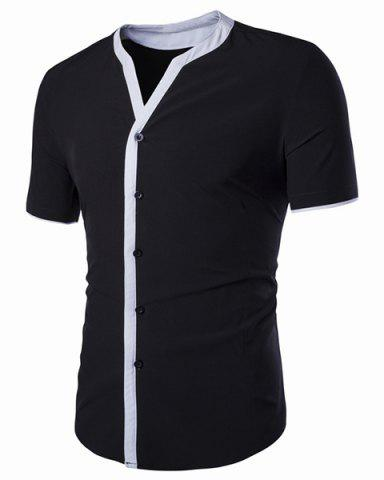Trendy V-Neck Edging Spliced Design Short Sleeve Shirt For Men BLACK L