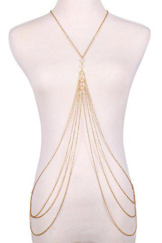 Latest Fashionable Faux Pearl Decorated Multi-Layered Beach Body Jewelry For Women GOLDEN