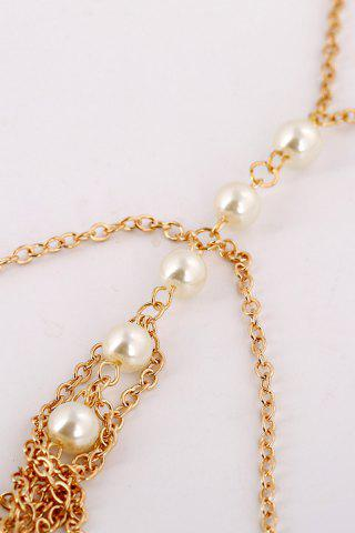 Fancy Fashionable Faux Pearl Decorated Multi-Layered Beach Body Jewelry For Women - GOLDEN  Mobile